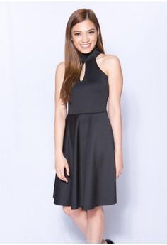 High Neck Neoprene Casual Dress