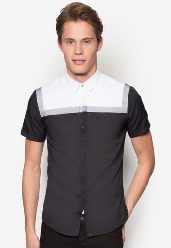撞色esprit門市地址拼接短袖襯衫, 服飾, 素色襯衫