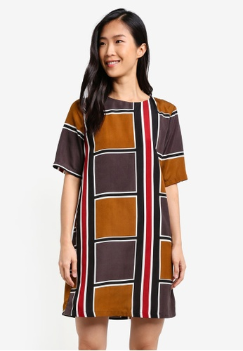 ZALORA multi Geo Print Shift Dress 32AA3ZZ53774E1GS_1