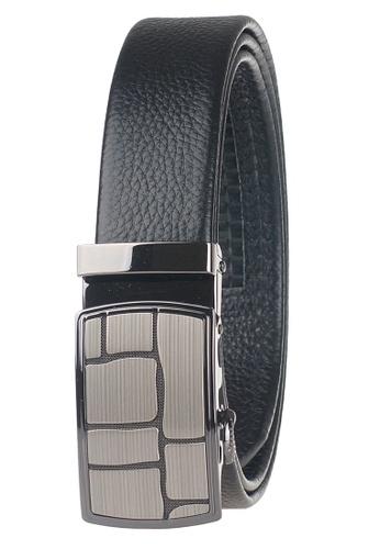 FANYU black Leather Dress Belt With Automatic Buckle EBC70AC3B60E01GS_1