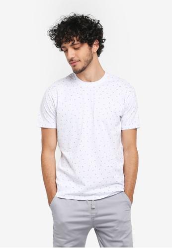 Fidelio white Micro Printed Small Leaves Round Neck T-Shirt F9DCCAA28B121CGS_1