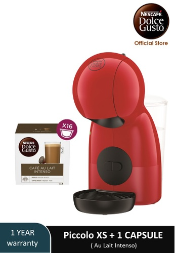 NESCAFE Dolce Gusto red PICCOLO XS Coffee Machine with 1 box of NESCAFE Dolce Gusto Cafe Au Lait Intenso capsules 2338EESE9C9A6DGS_1