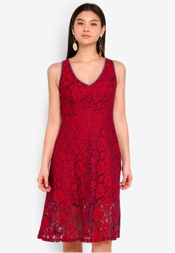 Preen & Proper red Lace Dress With Stripes Trim 7B9A4AAB0F0B7EGS_1