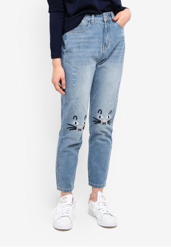 Something Borrowed blue Knee Embroidery Mom Fit Jeans 34F78AAE4145C7GS_1