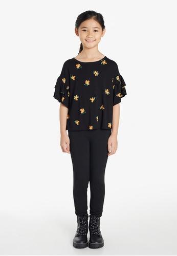 Gen Woo black Floral Cropped Ruffle T-shirt By Gen Woo 555A9KA31B35A3GS_1
