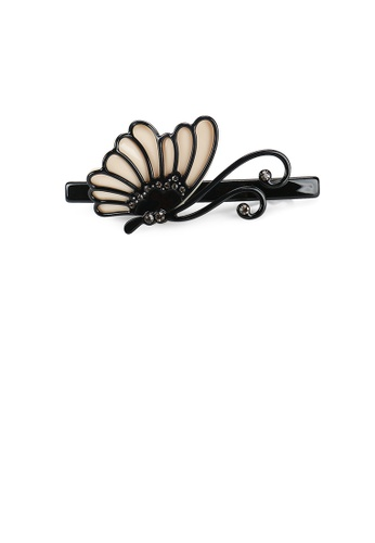 Glamorousky white Fashion and Elegant Butterfly Black Hair Slide with Cubic Zirconia 6A070AC435979CGS_1