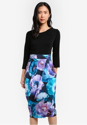 CLOSET black and multi Draped Contrast Dress CL919AA0S6GYMY_1