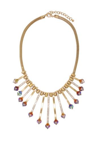 Jaysa Collection gold Crystal Cubes Array Pendant Necklace JA875AC41ZCSSG_1