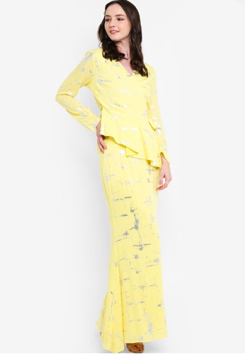 Draped Kurung Set from Lubna in Yellow