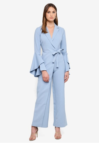0bcc8bce08a Lavish Alice blue Bell Sleeve Wrap Over Wide Leg Tailored Jumpsuit  C649AAA0B7FCF6GS 1