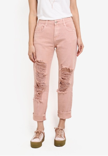 Something Borrowed pink Garment Dyed Ripped Boyfriend Jeans 3306FZZ2F368BCGS_1