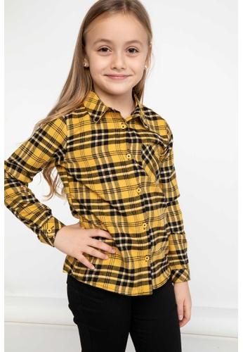 DeFacto yellow Girl Woven Long Sleeve Shirt 1B956KA5B69FD9GS_1
