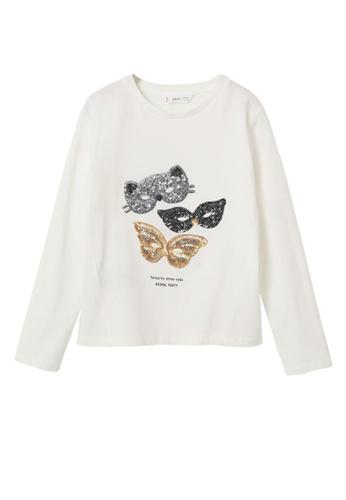 MANGO KIDS white Long-Sleeved T-Shirt With Sequins 31224KA2BE88A9GS_1