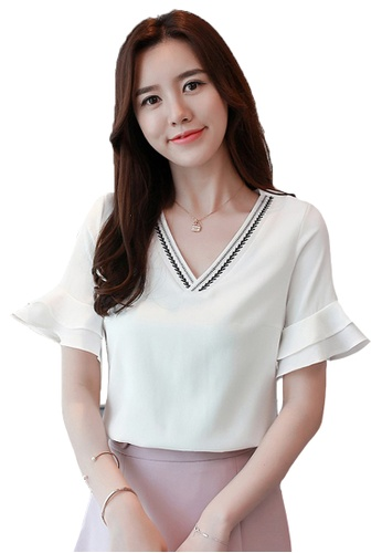 Halo white Flared Sleeves Blouse A962BAA1F5CF31GS_1