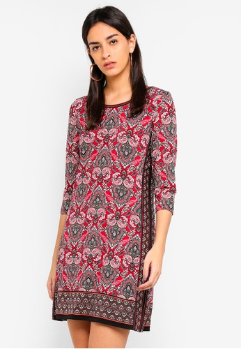Max Studio multi Printed Matte Jersey L/S Border Printed Dress F266EAAFE11E28GS_1