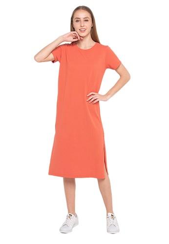 Evernoon orange Dale Midi Dress Lengan Pendek Wanita Design Simple Motif Polos Relaxed Fit - Orange 9A296AA9234930GS_1
