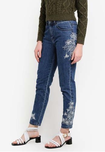 Zalia blue Embroidered Cigarette Cut Jeans D0370ZZEF71ED9GS_1