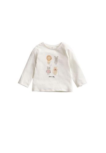 MANGO BABY white Printed Long Sleeve T-Shirt 1FF9FKAABFA8FEGS_1