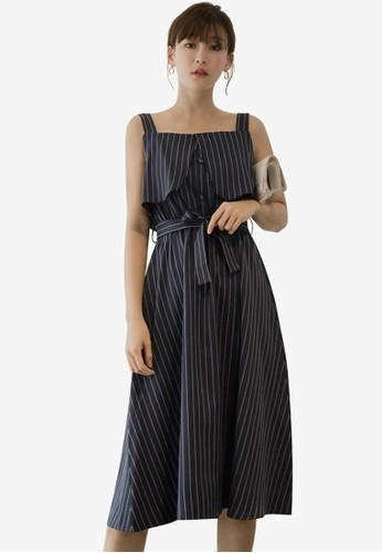 Tokichoi blue Striped Tie Belt Pinafore Dress 9899DAA0AB2CC5GS_1
