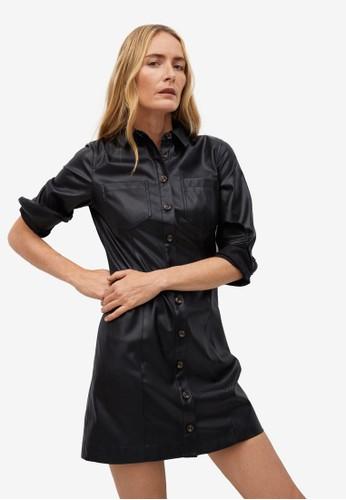 Mango black Faux-Leather Shirt Dress 4A960AA36D7639GS_1