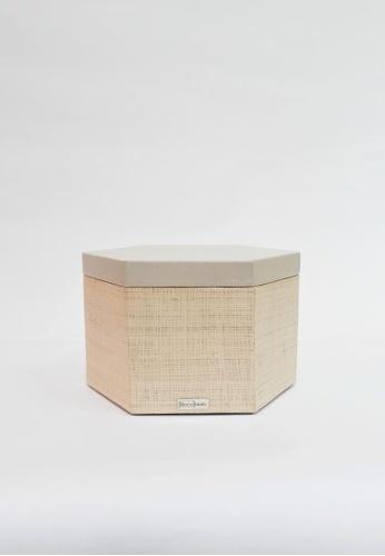 Grassroots grey Hexagonal Box (Medium) 4B4D2HL21A4100GS_1
