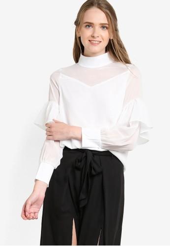 薄紗拼接高領女性襯衫, 服飾, 上esprit衣服目錄衣