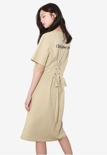 NAIN beige Lace Up Back Dress B853EAA257637EGS_1
