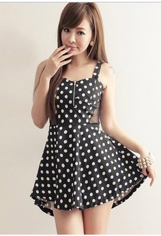 Polka Dots Above Knee Sleeveless A-Line Dress
