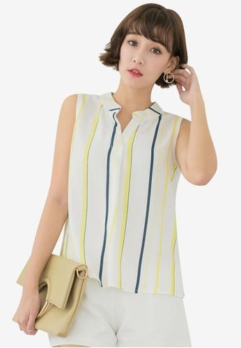 Tokichoi yellow and multi Chiffon Striped Sleeveless Blouse 80DEDAA8125595GS_1