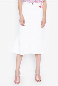 e1e1f640f6 Kamiseta white Cool Five Pocket Below The Knee Skirt 45B2FAA011F7E0GS_1