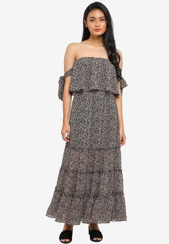 Preen & Proper black Bustier Maxi Dress With Tie Detail 6FE29AA466BBC6GS_1