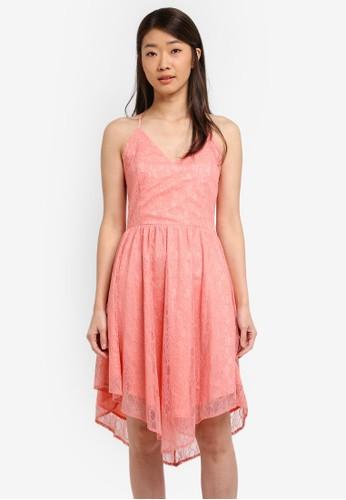 Preen & Proper pink Cross Back Lace Dress PR614AA0SSMJMY_1