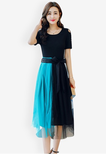 Sunnydaysweety multi Color Blocking Midi Dress 249B7AA891B81DGS_1