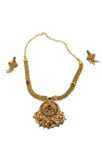 KAMDAR gold Shreenika Pendant Necklace Set 55524ACAEE44B1GS_1