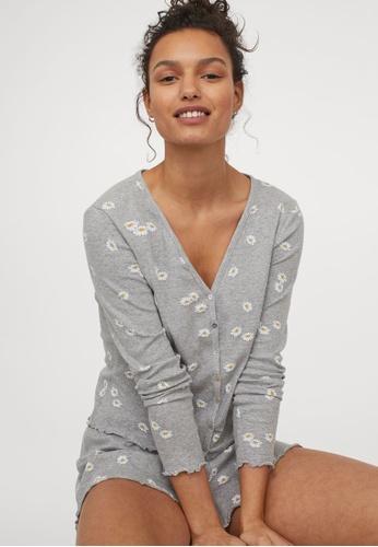 H&M grey Pyjama Set AA2EFAA2691717GS_1
