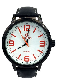 Orkina Large Numbers White Dial Quartz Black Leather Strap Wrist Watch