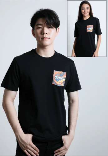 OHNII black PRINTED OLD SCHOOL MARBLE POCKET T-SHIRT 0536FAA6A01A81GS_1