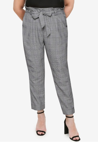 Vero Moda black Plus Size Allina Check Paperbag Trousers C0C47AAD26CB37GS_1