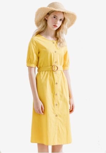 Sesura yellow Gorgeous Femme Midi Dress 1BABEAA439C3A5GS_1