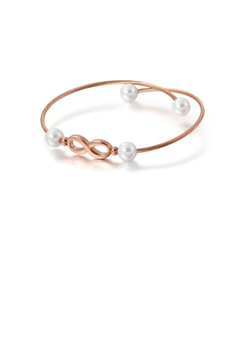 Glamorousky white Simple and Fashion Plated Rose Gold Infinity Symbol 316L Stainless Steel Bangle with Imitation Pearls 6C921ACEB7160DGS_1