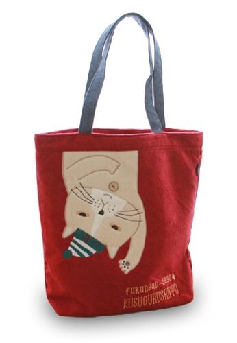 LULUGIFT red Lulugift Kusuguru Shippo Neko Maruke Fukunyan Dayo Cotton Tote Bag Red LU989AC0SE9NMY_1
