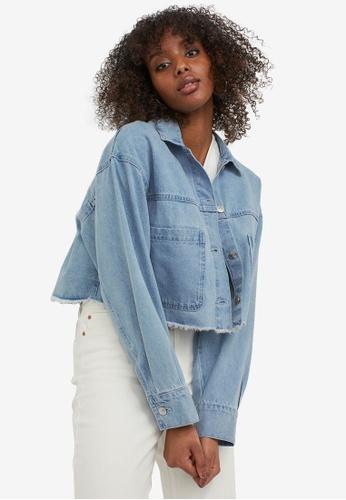 H&M blue Cropped Twill Jacket 8B01FAA752E4CFGS_1