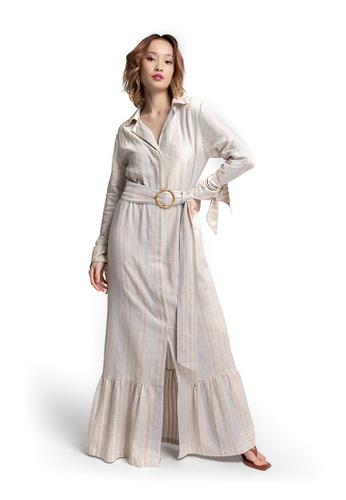 Akosée beige Jodi Long Shirt Dress B4F5EAA157073AGS_1