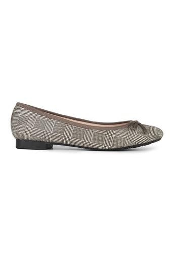 MAUD FRIZON brown Checked Fabric Print With Bow Ballerina 9520FSH3E44982GS_1