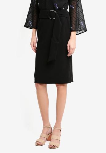 WAREHOUSE black O Ring Midi Skirt 100FBAA406890AGS_1
