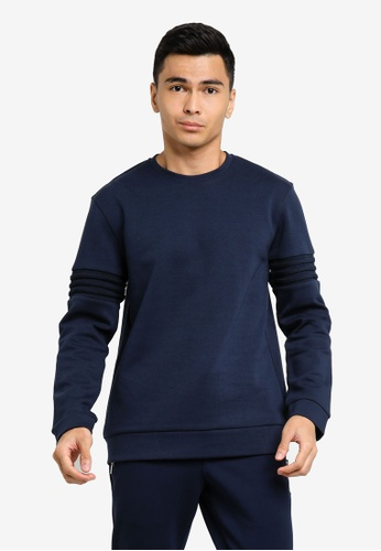 CK CALVIN KLEIN navy ORGANIC DOUBLE KNIT TOP WITH STRIPE DETAIL 9AED5AAAA7E39EGS_1