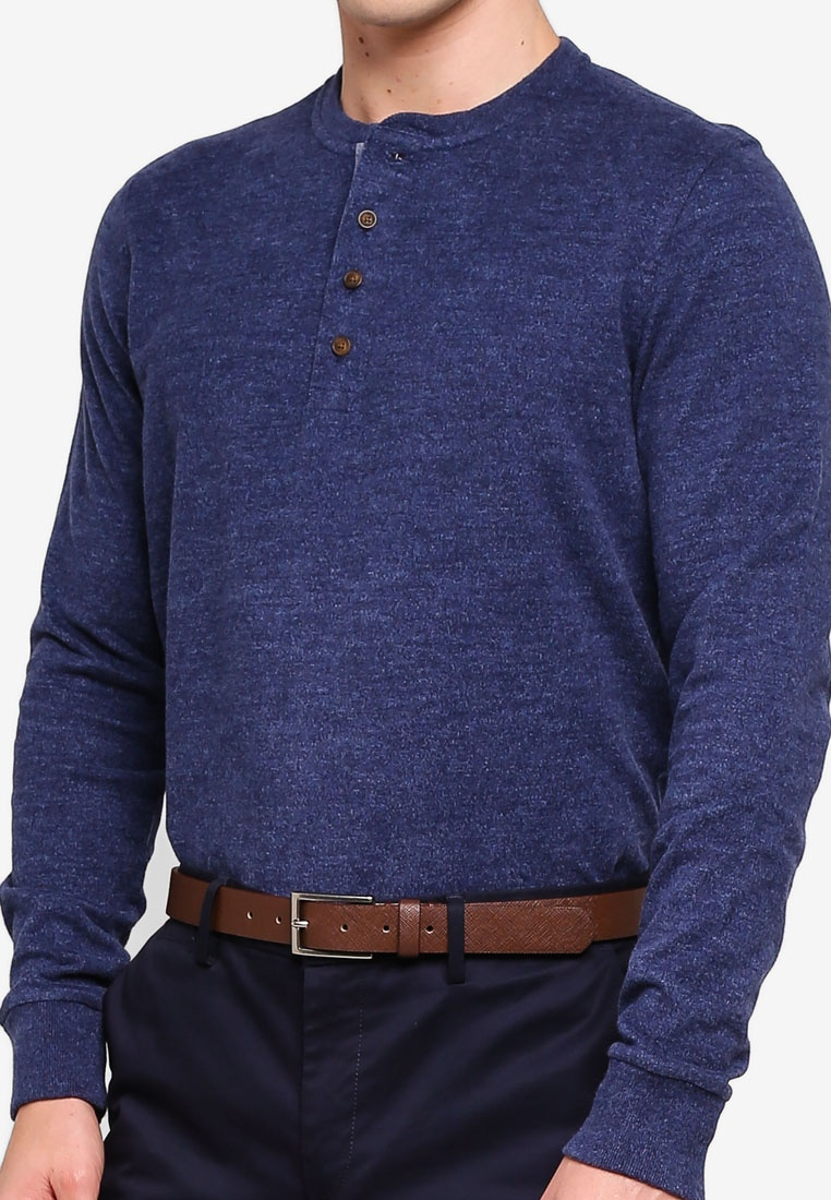 Brushed Navy Henley Brothers Brooks T Cotton Shirt rr6a8q