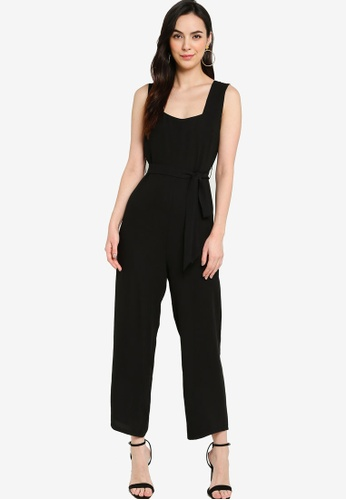 ZALORA WORK 黑色 Square Neck Belted Jumpsuit 64597AA4768AD8GS_1
