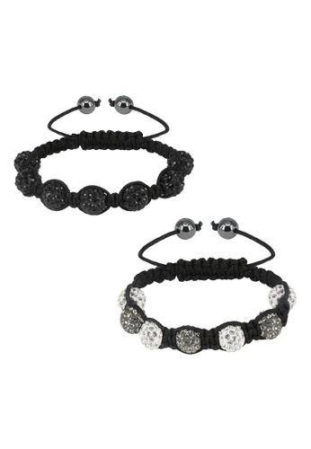 Her Jewellery black and grey Shamballa Bracelet Set Bundle (Black + Grey) 22E0DAC872927AGS_1