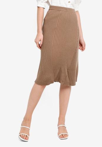 Hopeshow brown Knitted Mermaid Pencil Skirt F4D91AA533B9E5GS_1